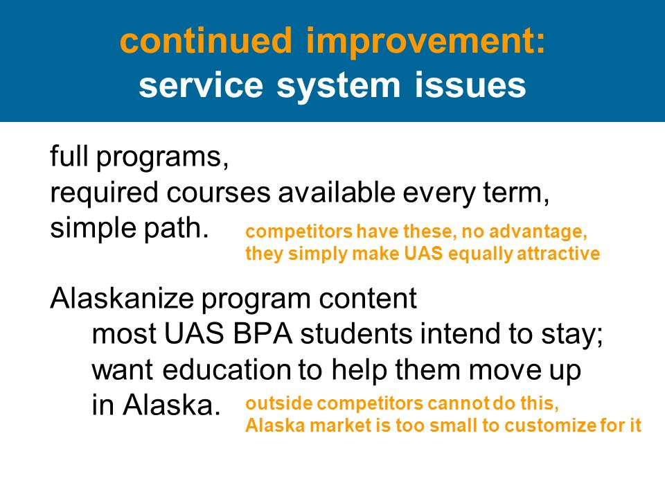 continued improvement: service system issues full programs, required courses available every term, simple path.