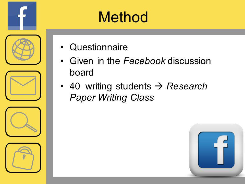 Method Questionnaire Given in the Facebook discussion board 40 writing students Research Paper Writing Class