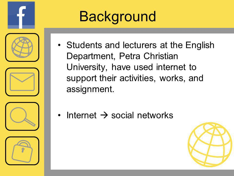 Background Students and lecturers at the English Department, Petra Christian University, have used internet to support their activities, works, and assignment.