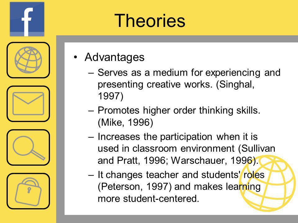 Theories Advantages –Serves as a medium for experiencing and presenting creative works.