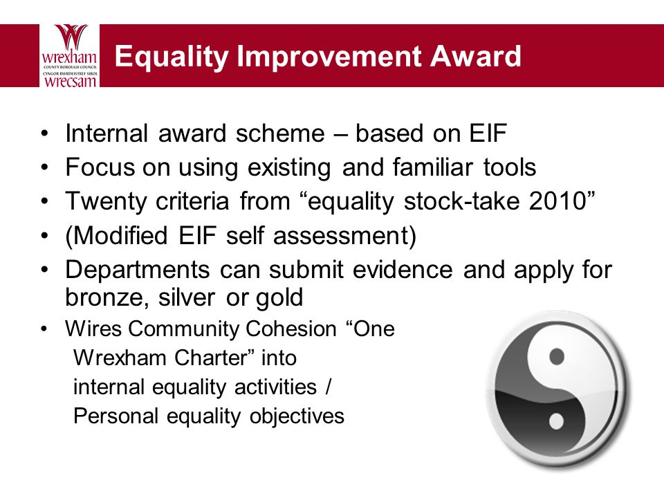 Equality Improvement Award Internal award scheme – based on EIF Focus on using existing and familiar tools Twenty criteria from equality stock-take 2010 (Modified EIF self assessment) Departments can submit evidence and apply for bronze, silver or gold Wires Community Cohesion One Wrexham Charter into internal equality activities / Personal equality objectives