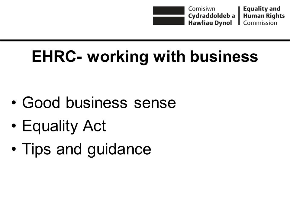 EHRC- working with business Good business sense Equality Act Tips and guidance