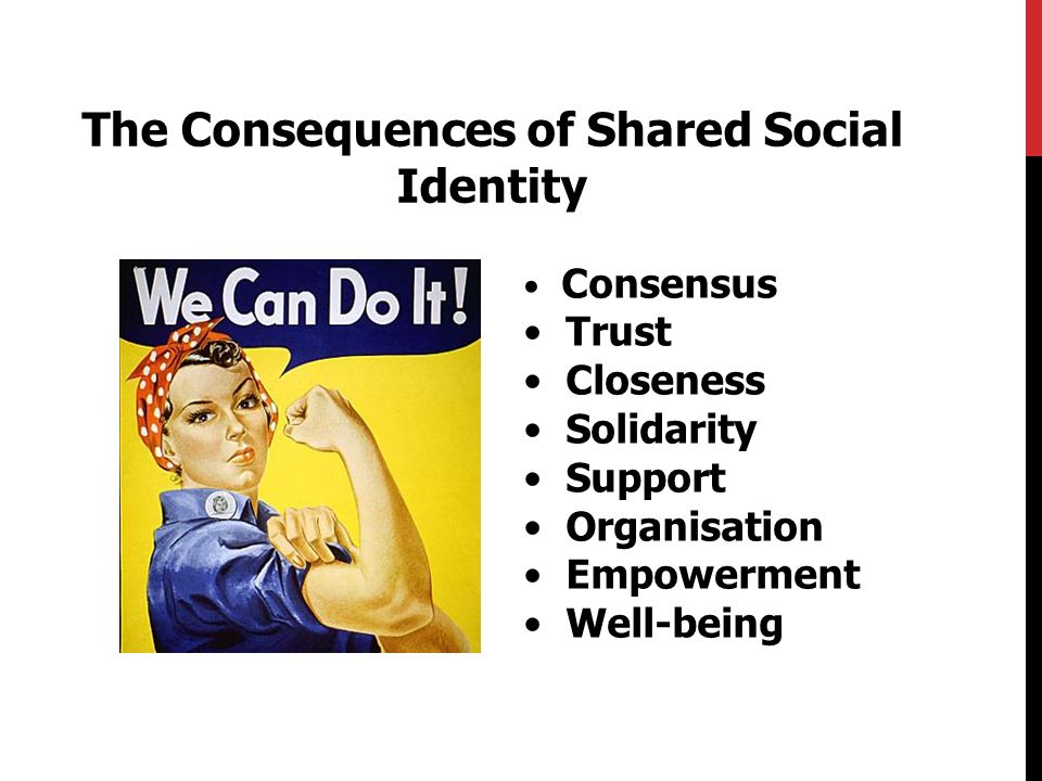 The Consequences of Shared Social Identity Consensus Trust Closeness Solidarity Support Organisation Empowerment Well-being
