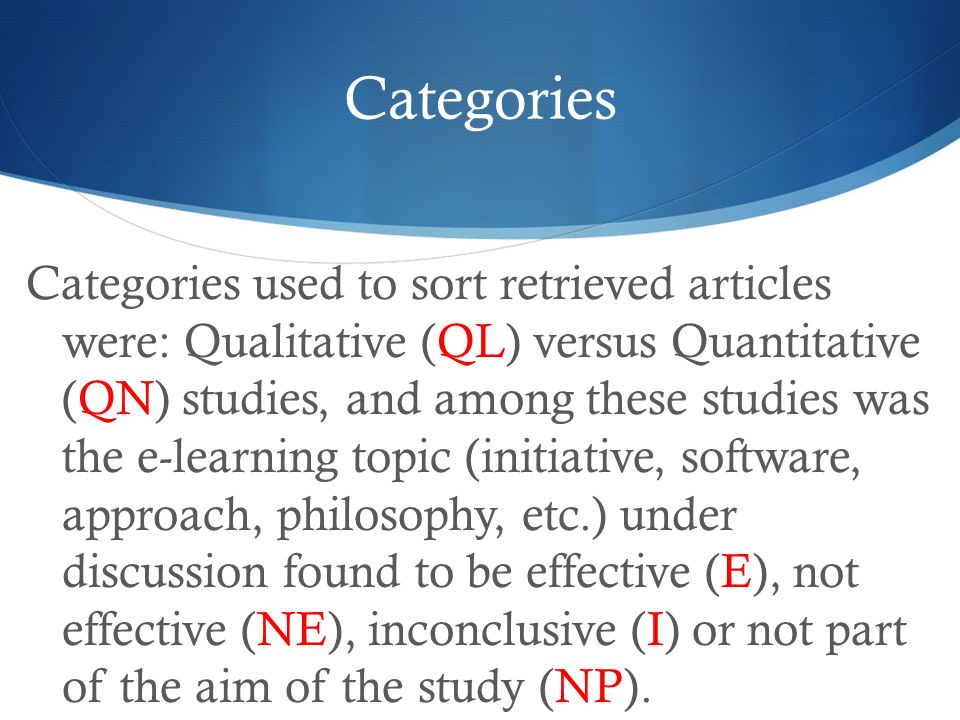 Categories Categories used to sort retrieved articles were: Qualitative (QL) versus Quantitative (QN) studies, and among these studies was the e-learning topic (initiative, software, approach, philosophy, etc.) under discussion found to be effective (E), not effective (NE), inconclusive (I) or not part of the aim of the study (NP).