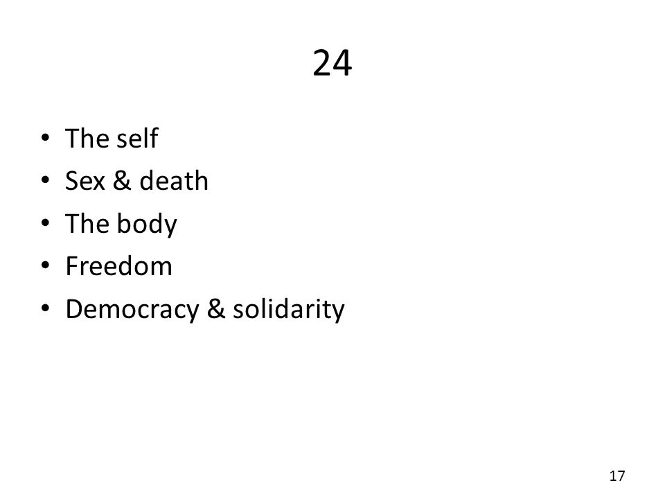 24 The self Sex & death The body Freedom Democracy & solidarity 17