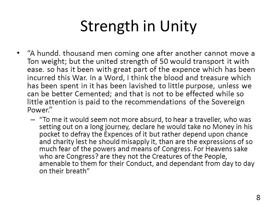 Strength in Unity A hundd.