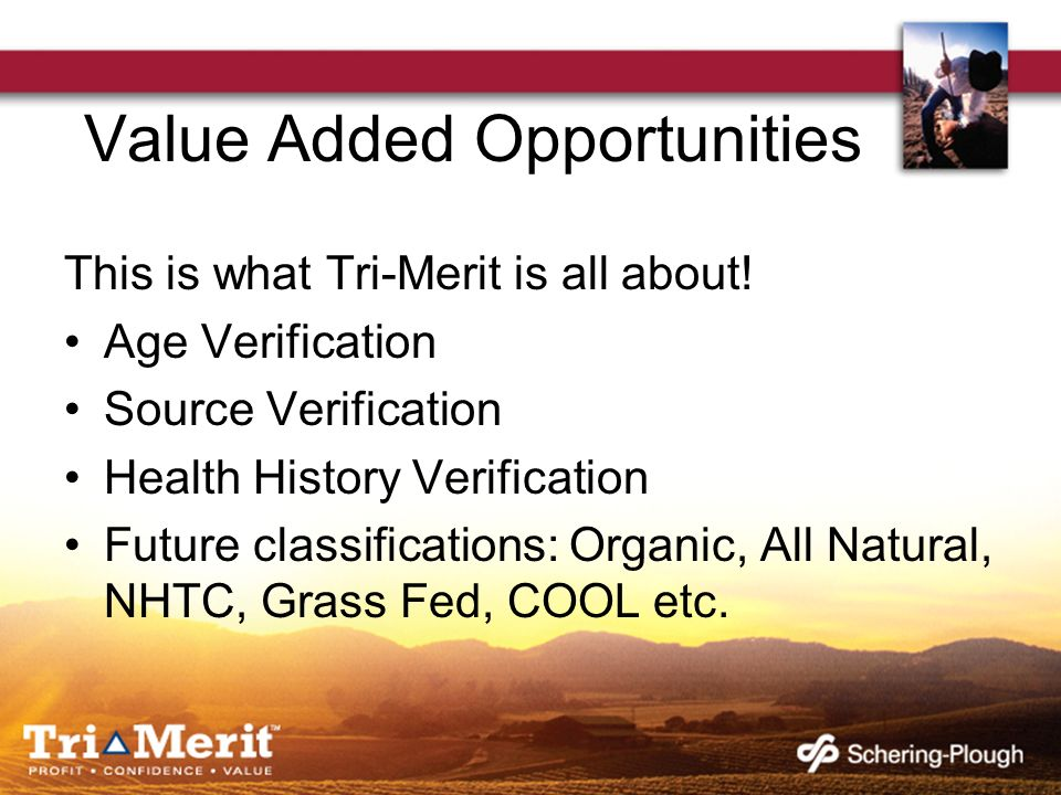 Value Added Opportunities This is what Tri-Merit is all about.