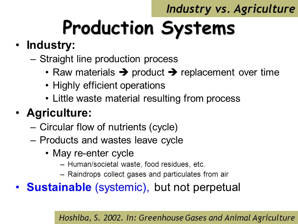 Production Systems Industry: –Straight line production process Raw materials product replacement over time Highly efficient operations Little waste material resulting from process Agriculture: –Circular flow of nutrients (cycle) –Products and wastes leave cycle May re-enter cycle –Human/societal waste, food residues, etc.