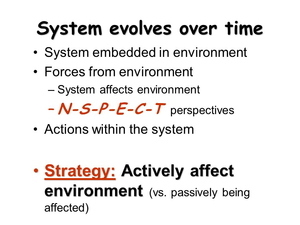 System evolves over time System embedded in environment Forces from environment –System affects environment –N-S-P-E-C-T perspectives Actions within the system Strategy: Actively affect environmentStrategy: Actively affect environment (vs.
