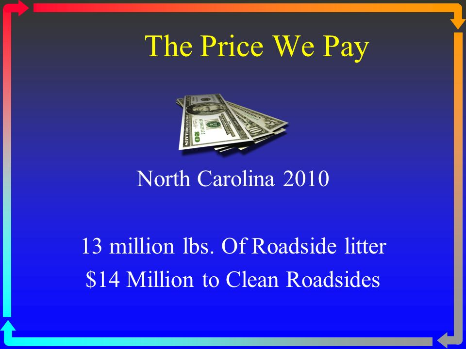 The Price We Pay North Carolina 2010 13 million lbs.