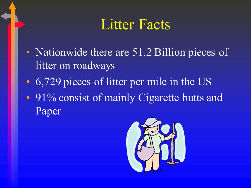 Litter Facts Nationwide there are 51.2 Billion pieces of litter on roadways 6,729 pieces of litter per mile in the US 91% consist of mainly Cigarette butts and Paper