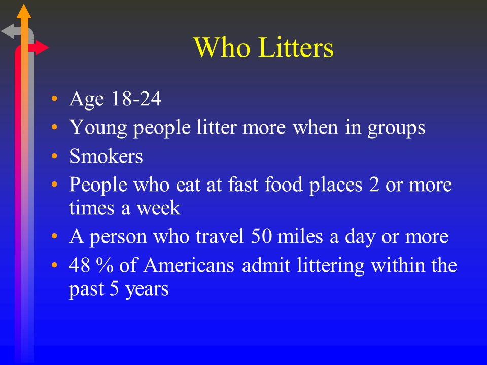 Who Litters Age 18-24 Young people litter more when in groups Smokers People who eat at fast food places 2 or more times a week A person who travel 50 miles a day or more 48 % of Americans admit littering within the past 5 years