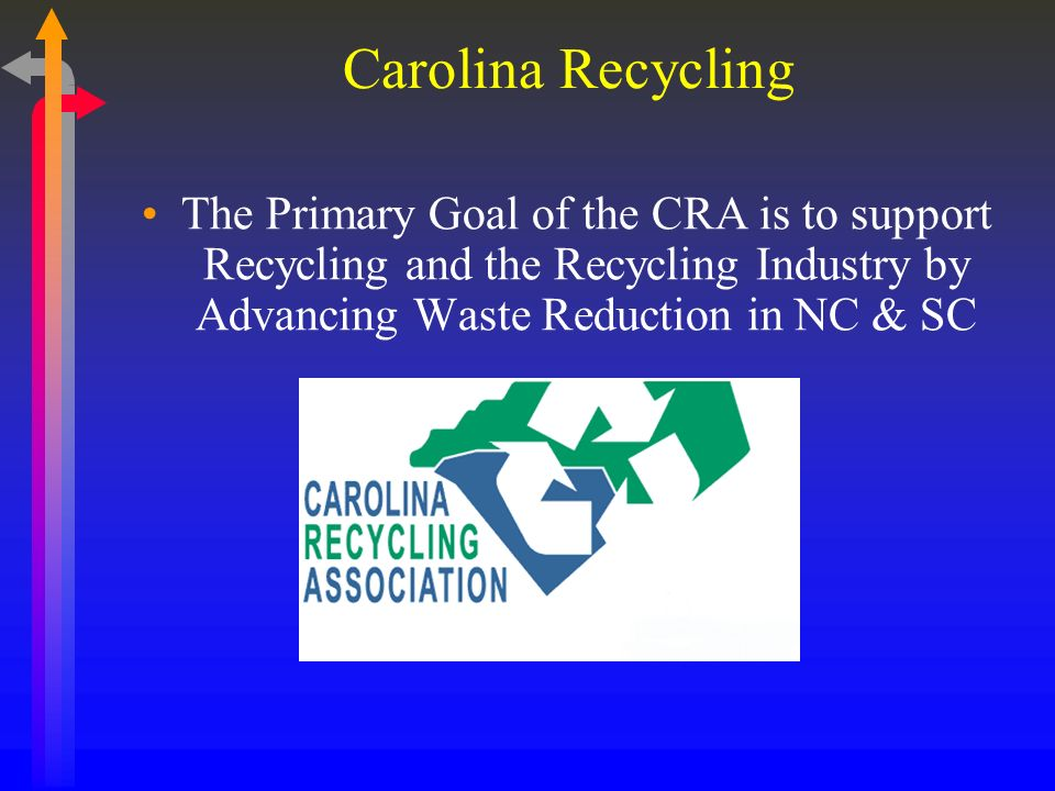 Carolina Recycling The Primary Goal of the CRA is to support Recycling and the Recycling Industry by Advancing Waste Reduction in NC & SC
