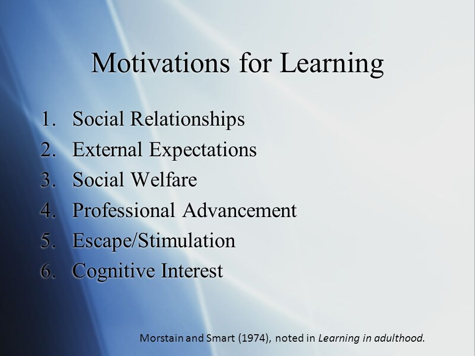 Motivations for Learning 1.Social Relationships 2.External Expectations 3.Social Welfare 4.Professional Advancement 5.Escape/Stimulation 6.Cognitive Interest Morstain and Smart (1974), noted in Learning in adulthood.