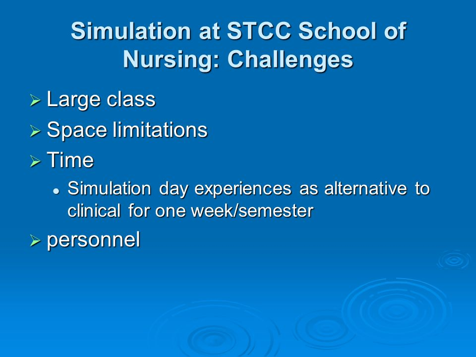 Simulation at STCC School of Nursing: Challenges Large class Large class Space limitations Space limitations Time Time Simulation day experiences as alternative to clinical for one week/semester Simulation day experiences as alternative to clinical for one week/semester personnel personnel
