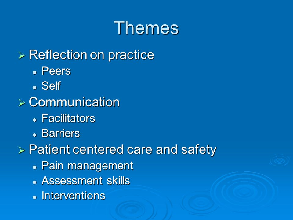 Themes Reflection on practice Reflection on practice Peers Peers Self Self Communication Communication Facilitators Facilitators Barriers Barriers Patient centered care and safety Patient centered care and safety Pain management Pain management Assessment skills Assessment skills Interventions Interventions