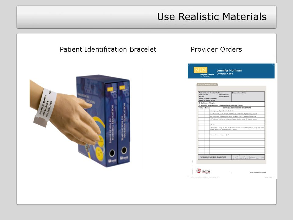 Patient Identification Bracelet Provider Orders Use Realistic Materials