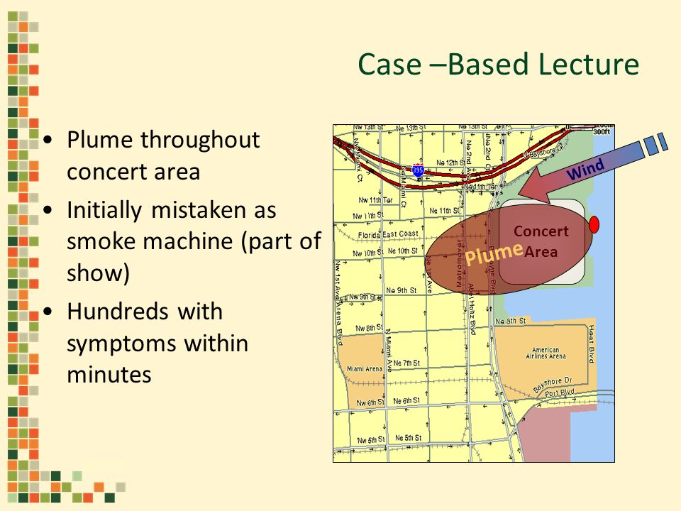 Plume throughout concert area Initially mistaken as smoke machine (part of show) Hundreds with symptoms within minutes Concert Area Wind Plume Case –Based Lecture