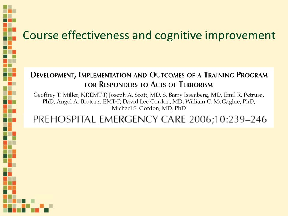 Course effectiveness and cognitive improvement