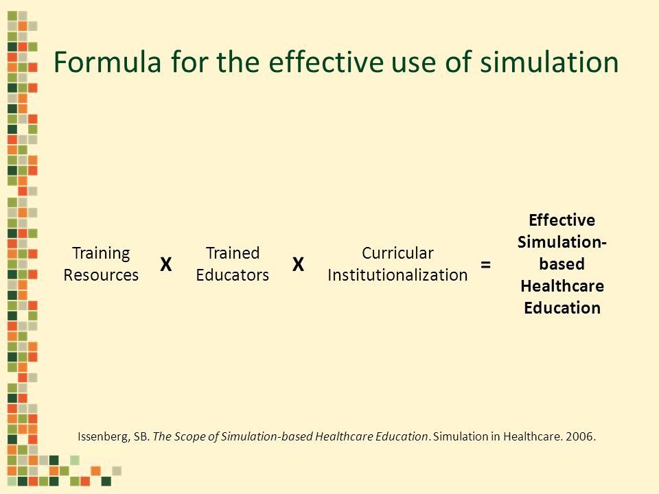Formula for the effective use of simulation Training Resources Trained Educators Curricular Institutionalization XX= Effective Simulation- based Healthcare Education Issenberg, SB.
