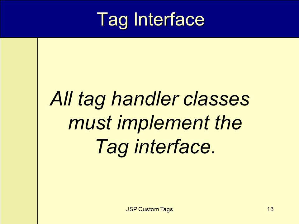 JSP Custom Tags13 Tag Interface All tag handler classes must implement the Tag interface.
