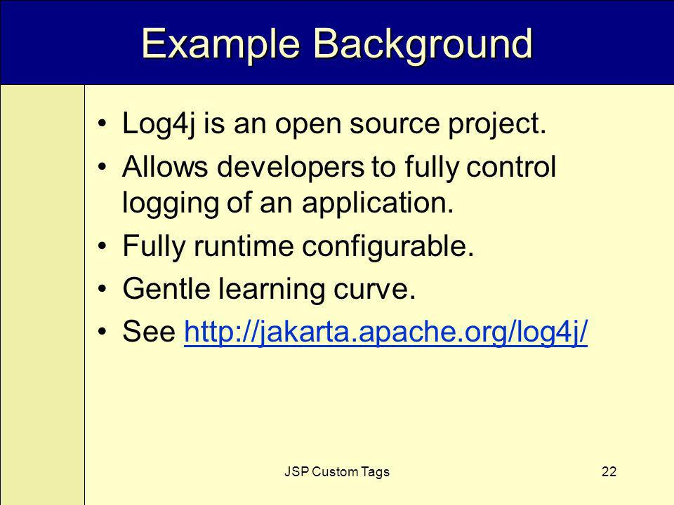JSP Custom Tags22 Example Background Log4j is an open source project.