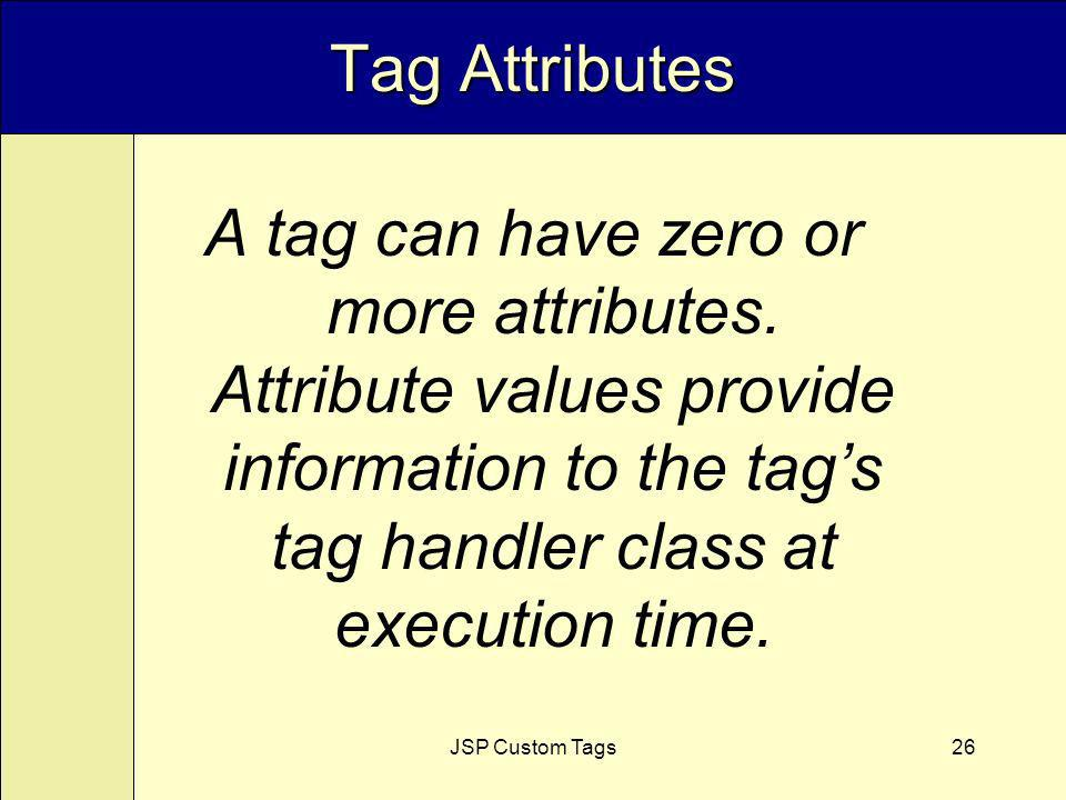 JSP Custom Tags26 Tag Attributes A tag can have zero or more attributes.