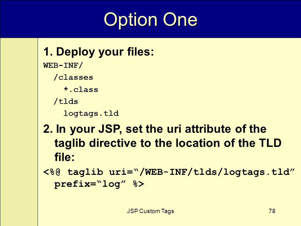 JSP Custom Tags78 Option One 1. Deploy your files: WEB-INF/ /classes *.class /tlds logtags.tld 2.
