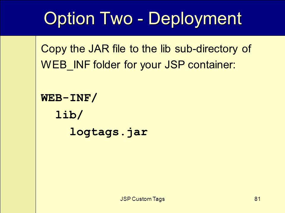JSP Custom Tags81 Option Two - Deployment Copy the JAR file to the lib sub-directory of WEB_INF folder for your JSP container: WEB-INF/ lib/ logtags.jar
