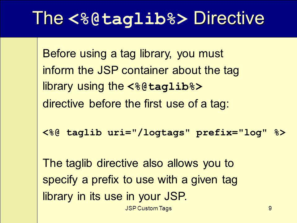 JSP Custom Tags9 The Directive Before using a tag library, you must inform the JSP container about the tag library using the directive before the first use of a tag: The taglib directive also allows you to specify a prefix to use with a given tag library in its use in your JSP.