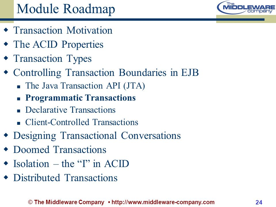 © The Middleware Company http://www.middleware-company.com 24 Module Roadmap Transaction Motivation The ACID Properties Transaction Types Controlling Transaction Boundaries in EJB The Java Transaction API (JTA) Programmatic Transactions Declarative Transactions Client-Controlled Transactions Designing Transactional Conversations Doomed Transactions Isolation – the I in ACID Distributed Transactions