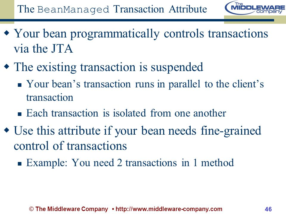 © The Middleware Company http://www.middleware-company.com 46 The BeanManaged Transaction Attribute Your bean programmatically controls transactions via the JTA The existing transaction is suspended Your beans transaction runs in parallel to the clients transaction Each transaction is isolated from one another Use this attribute if your bean needs fine-grained control of transactions Example: You need 2 transactions in 1 method