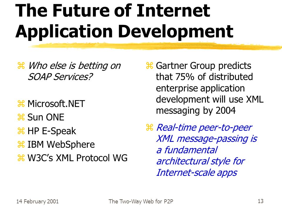 14 February 2001The Two-Way Web for P2P13 The Future of Internet Application Development zWho else is betting on SOAP Services.