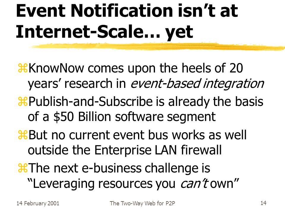 14 February 2001The Two-Way Web for P2P14 Event Notification isnt at Internet-Scale… yet zKnowNow comes upon the heels of 20 years research in event-based integration zPublish-and-Subscribe is already the basis of a $50 Billion software segment zBut no current event bus works as well outside the Enterprise LAN firewall zThe next e-business challenge is Leveraging resources you cant own