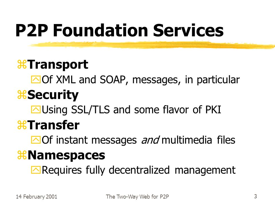 14 February 2001The Two-Way Web for P2P3 P2P Foundation Services zTransport yOf XML and SOAP, messages, in particular zSecurity yUsing SSL/TLS and some flavor of PKI zTransfer yOf instant messages and multimedia files zNamespaces yRequires fully decentralized management