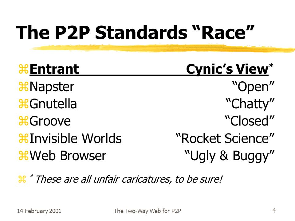 14 February 2001The Two-Way Web for P2P4 The P2P Standards Race zEntrantCynics View * zNapsterOpen zGnutellaChatty zGrooveClosed zInvisible WorldsRocket Science zWeb BrowserUgly & Buggy z * These are all unfair caricatures, to be sure!