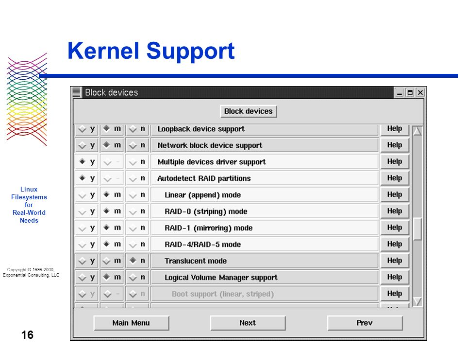 Copyright © 1999-2000, Exponential Consulting, LLC Linux Filesystems for Real-World Needs 16 Kernel Support