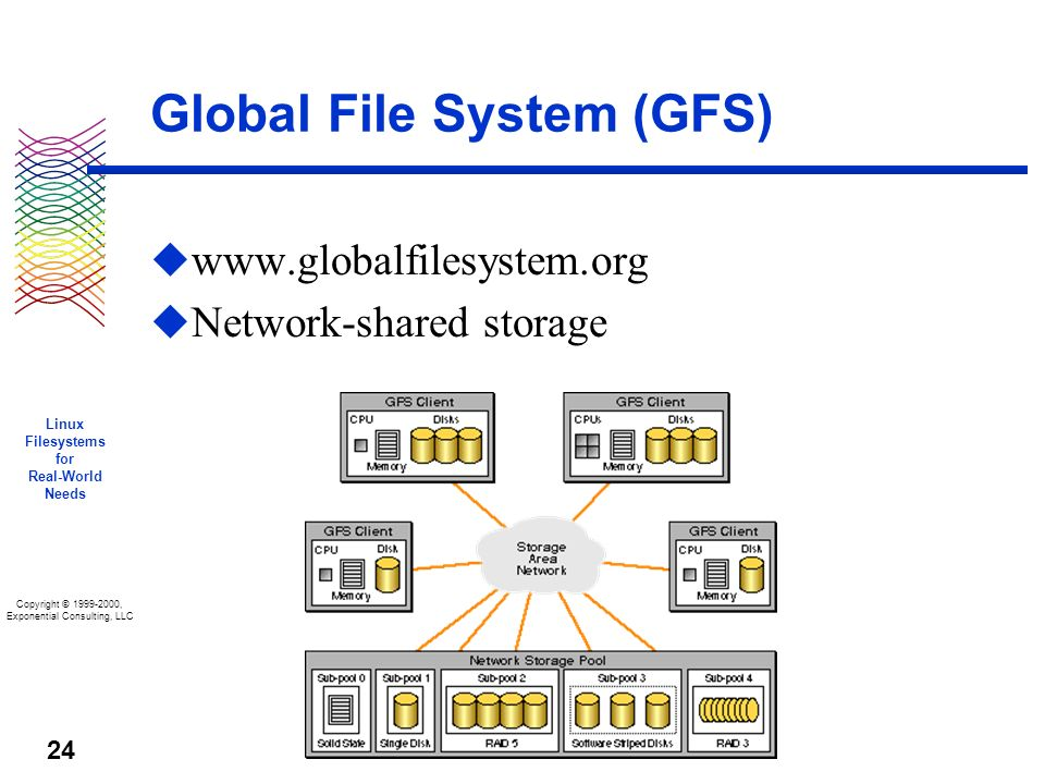 Copyright © 1999-2000, Exponential Consulting, LLC Linux Filesystems for Real-World Needs 24 Global File System (GFS) u www.globalfilesystem.org u Network-shared storage