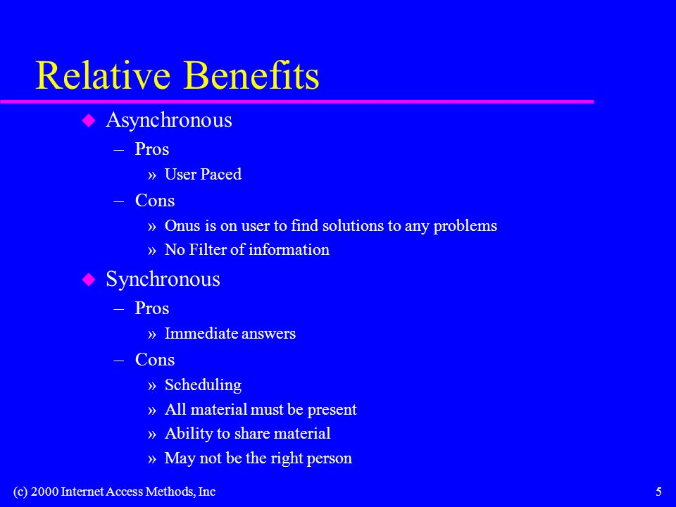 (c) 2000 Internet Access Methods, Inc5 Relative Benefits u Asynchronous –Pros »User Paced –Cons »Onus is on user to find solutions to any problems »No Filter of information u Synchronous –Pros »Immediate answers –Cons »Scheduling »All material must be present »Ability to share material »May not be the right person
