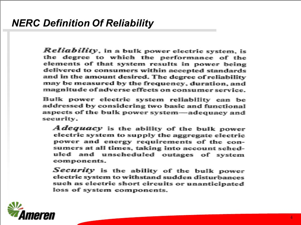 4 NERC Definition Of Reliability