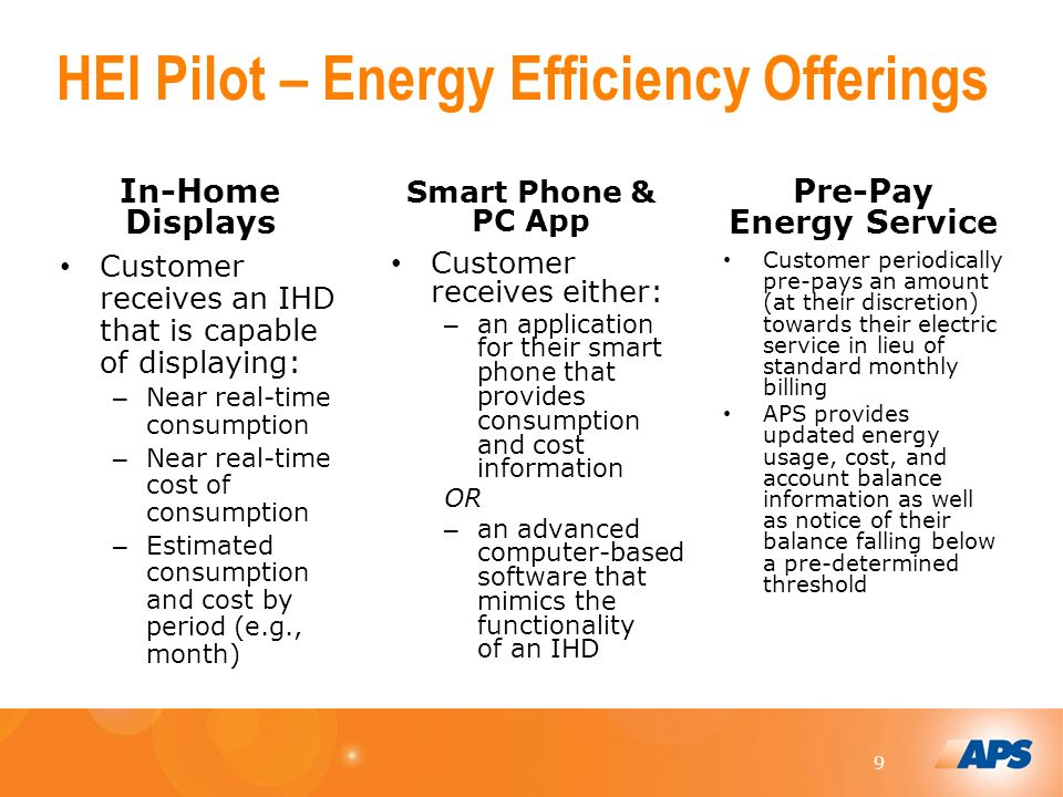 9 HEI Pilot – Energy Efficiency Offerings In-Home Displays Customer receives an IHD that is capable of displaying: – Near real-time consumption – Near real-time cost of consumption – Estimated consumption and cost by period (e.g., month) Smart Phone & PC App Customer receives either: – an application for their smart phone that provides consumption and cost information OR – an advanced computer-based software that mimics the functionality of an IHD Pre-Pay Energy Service Customer periodically pre-pays an amount (at their discretion) towards their electric service in lieu of standard monthly billing APS provides updated energy usage, cost, and account balance information as well as notice of their balance falling below a pre-determined threshold