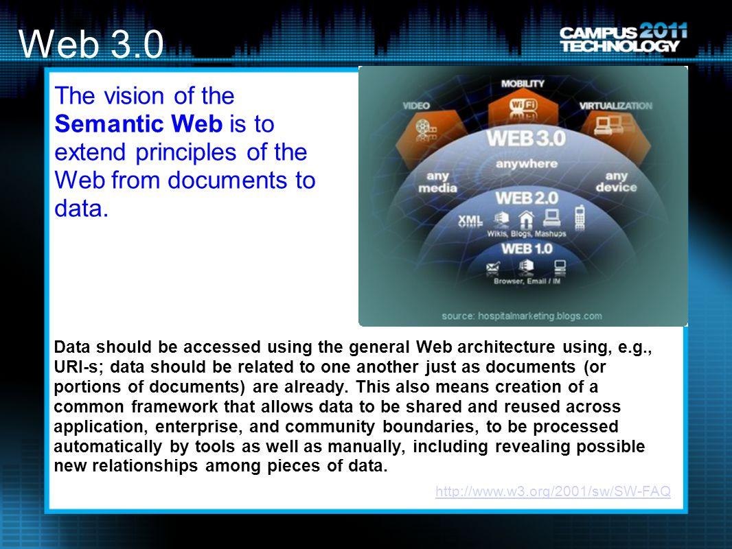 Web 3.0 Data should be accessed using the general Web architecture using, e.g., URI-s; data should be related to one another just as documents (or portions of documents) are already.