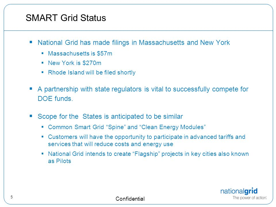 5 Confidential SMART Grid Status National Grid has made filings in Massachusetts and New York Massachusetts is $57m New York is $270m Rhode Island will be filed shortly A partnership with state regulators is vital to successfully compete for DOE funds.