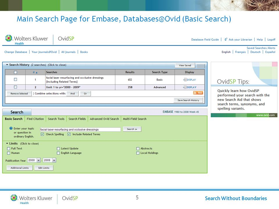 5 Main Search Page for Embase, Databases@Ovid (Basic Search)