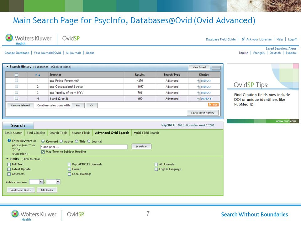 7 Main Search Page for PsycInfo, Databases@Ovid (Ovid Advanced)