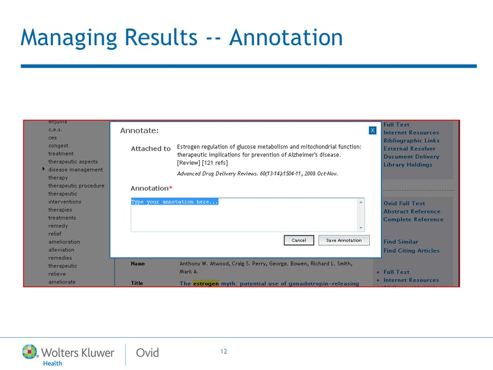 12 Managing Results -- Annotation