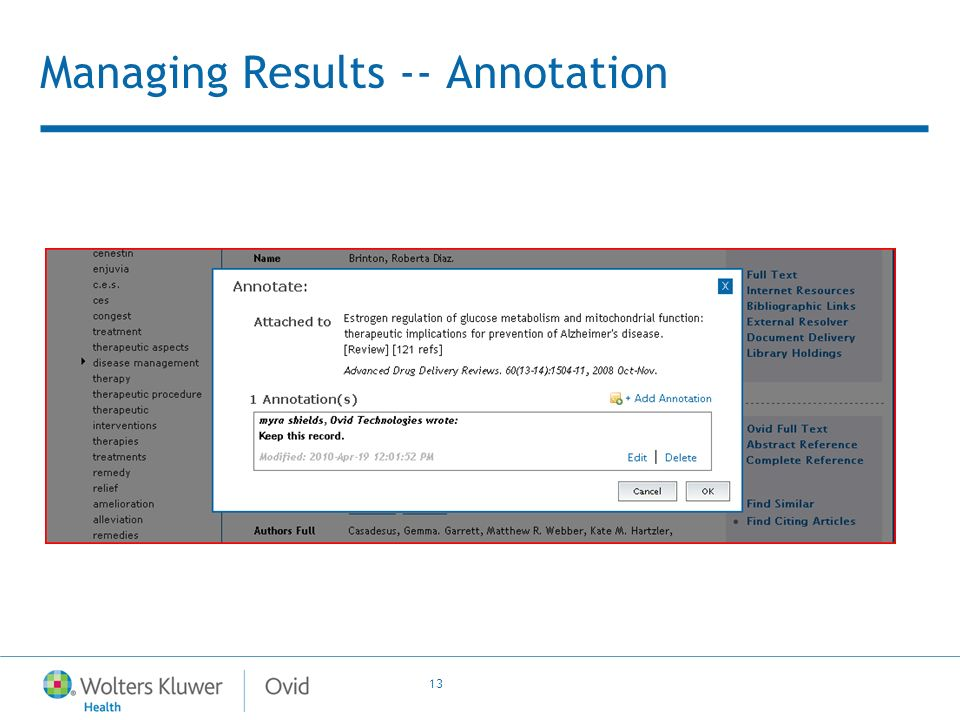 13 Managing Results -- Annotation