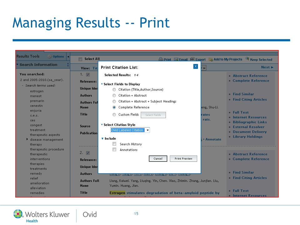 15 Managing Results -- Print