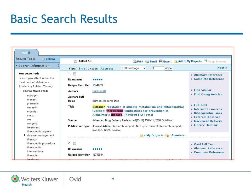 6 Basic Search Results