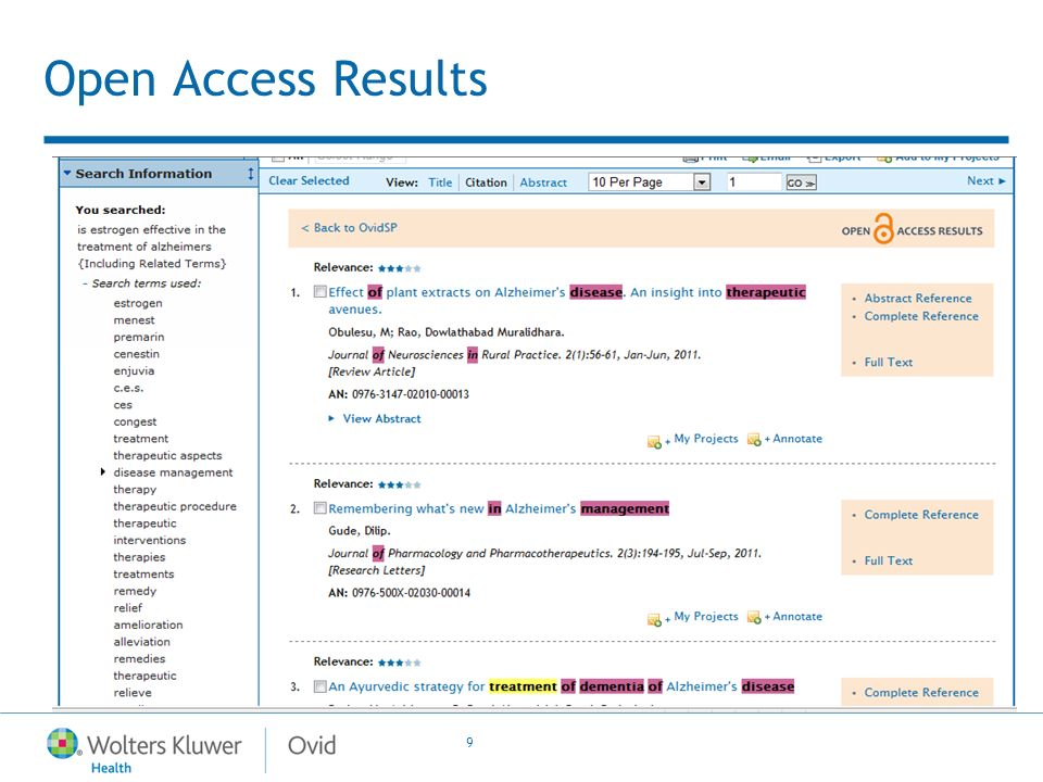 9 Open Access Results